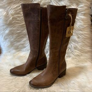 Born Fannar Leather Boots 6.5M Womens Brown Knee